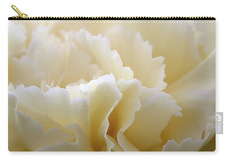 Netherlands Carry-all Pouch featuring the photograph Cream Coloured Carnation, Close-up by Roel Meijer