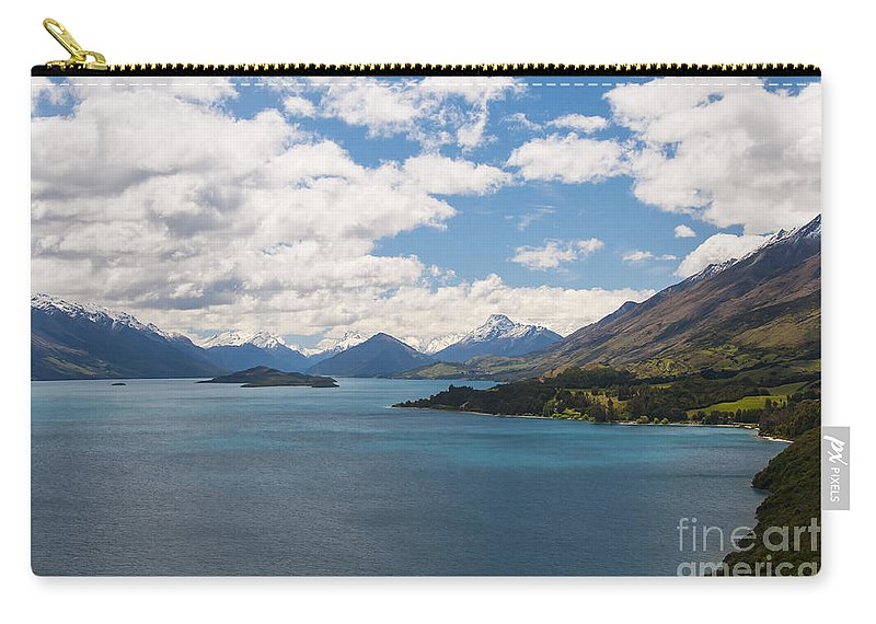 Queenstown New Zealand Lake Wakatipu Lakes Water Mountain Mountains Snow Landscape Landscapes Waterscape Waterscapes Carry-all Pouch featuring the photograph Creator's Beauty by Bob Phillips