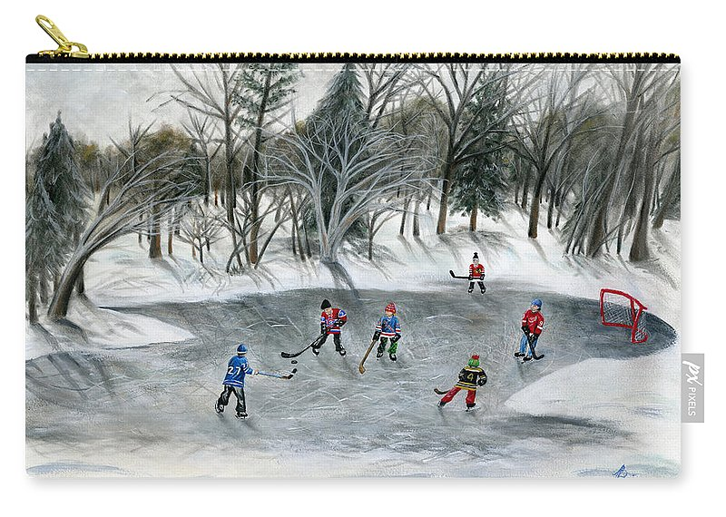 Hockey Carry-all Pouch featuring the painting Credit River Dreams by Brianna Mulvale