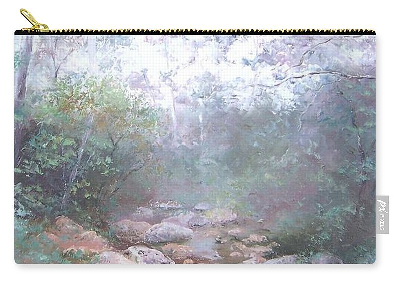 Landscape Carry-all Pouch featuring the painting Creek In The Forest by Jan Matson
