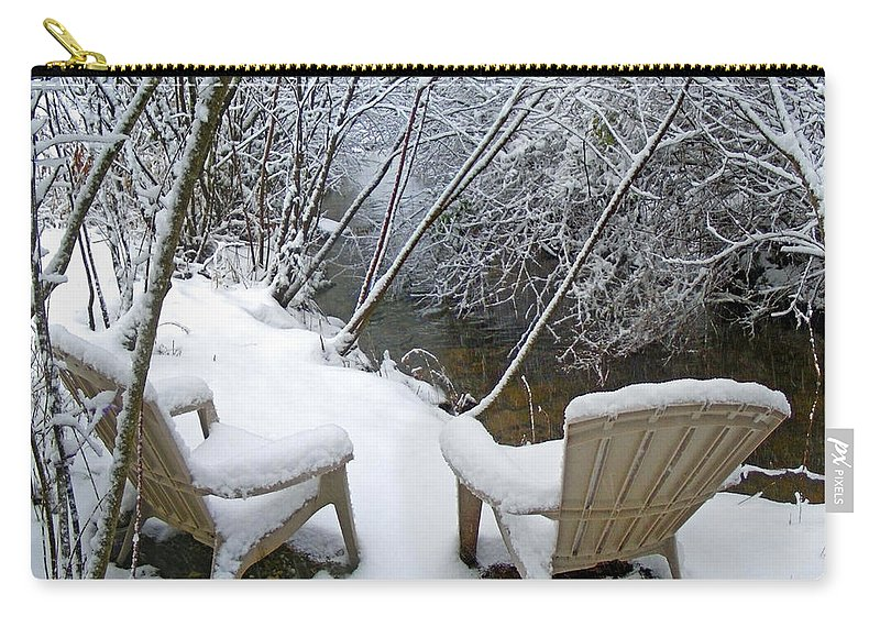 Winter Carry-all Pouch featuring the photograph Creekside Chairs In The Snow 2 by Duane McCullough