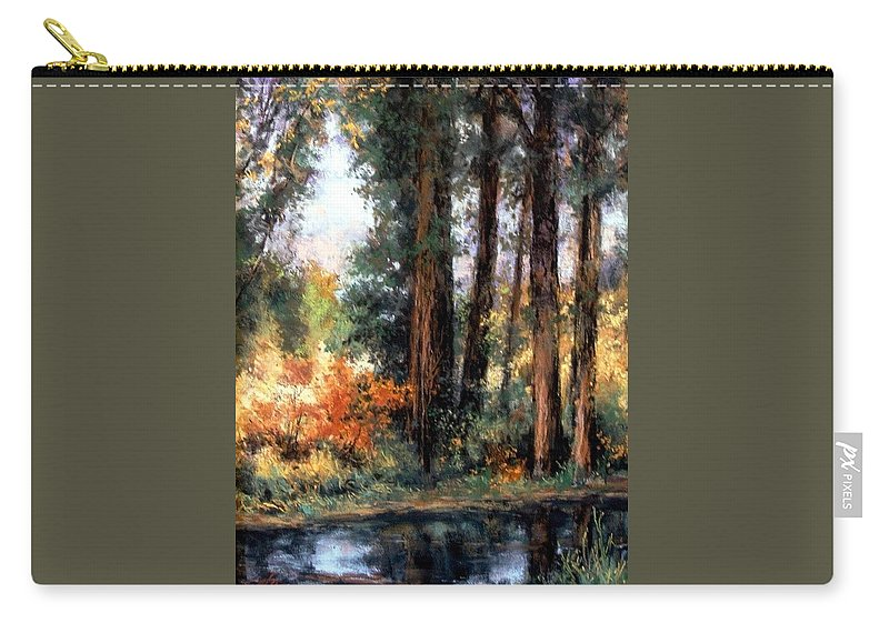 Oil Painting Carry-all Pouch featuring the pastel Creekside No 2 by Jim Gola