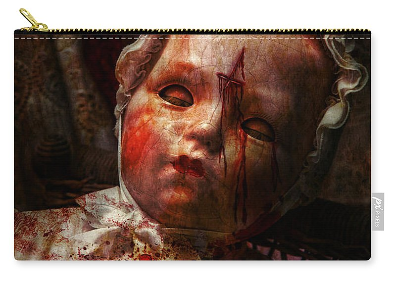 Doll Carry-all Pouch featuring the photograph Creepy - Doll - It's Best To Let Them Sleep by Mike Savad