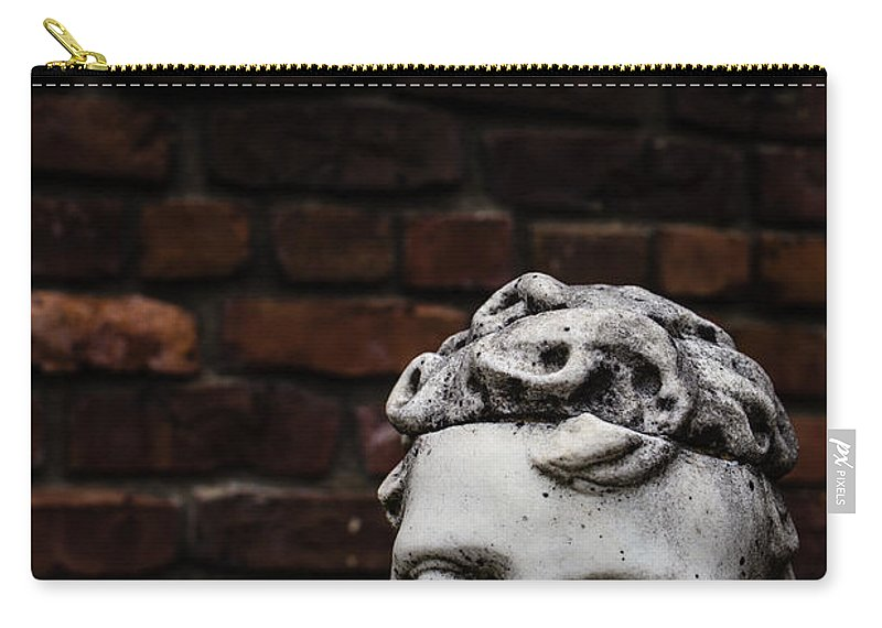 Garden Carry-all Pouch featuring the photograph Creepy Marble Boy Garden Statue by Edward Fielding