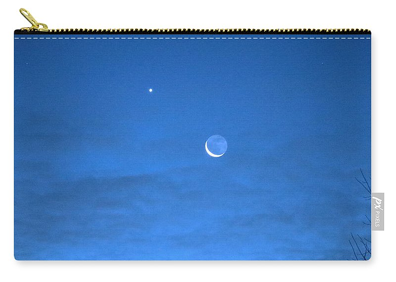 Moon Carry-all Pouch featuring the photograph Crescent Moon Morning by Andrea Kappler