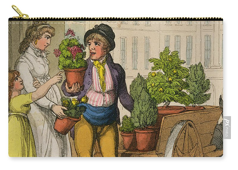 Crier Carry-all Pouch featuring the drawing Cries Of London The Garden Pot Seller by Thomas Rowlandson