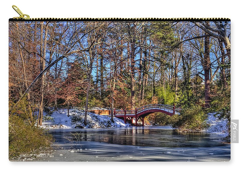 Crim Dell Carry-all Pouch featuring the photograph Crim Dell In Winter William And Mary by Jerry Gammon