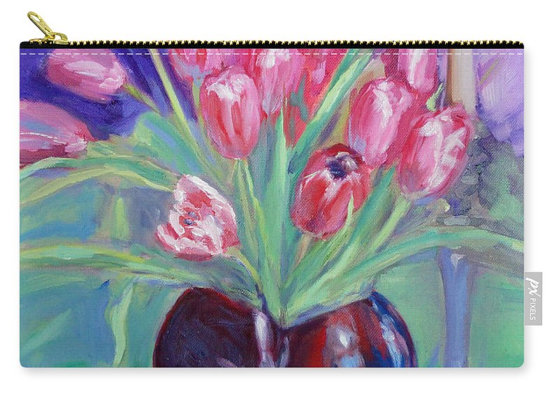 Tulips Carry-all Pouch featuring the painting Crimson Chorus by Sarah Sheffield