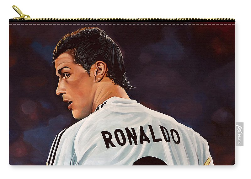 Real Madrid Carry-all Pouch featuring the painting Cristiano Ronaldo by Paul Meijering