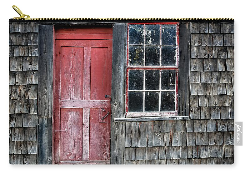 Red Carry-all Pouch featuring the photograph Crooked Red Door by John Vose