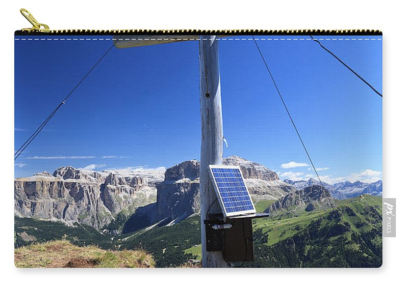 Adventure Carry-all Pouch featuring the photograph cross on Crepa Neigra peak by Antonio Scarpi