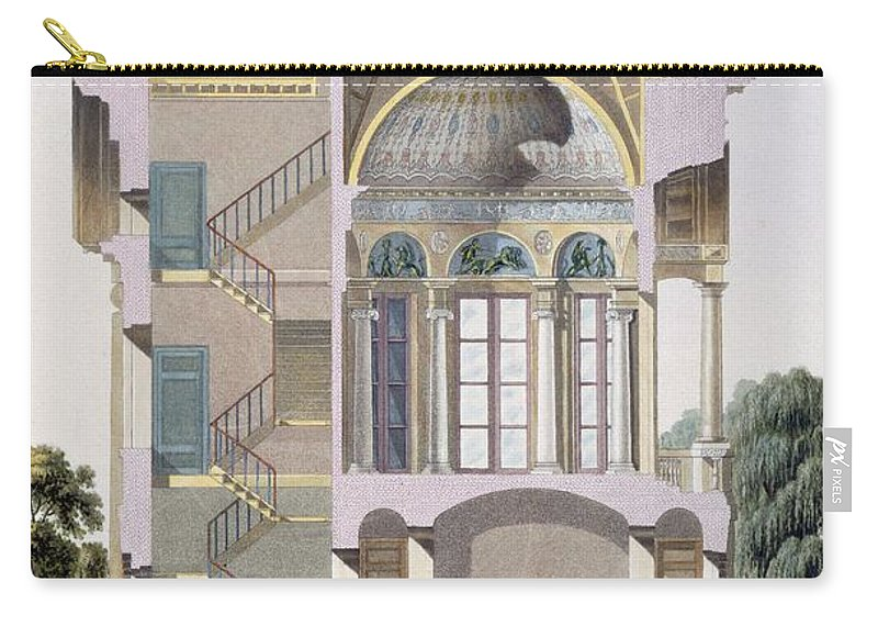 Pavilion D'hingene Carry-all Pouch featuring the drawing Cross Section Of The Pavilion by Pierre Jacques Goetghebuer