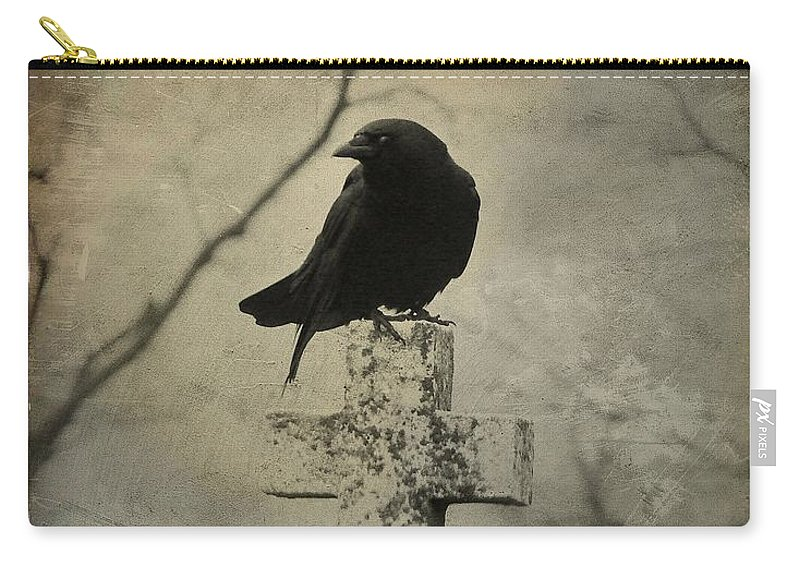 Crow On Cross Carry-all Pouch featuring the photograph Crow On A Crooked Old Cross by Gothicrow Images