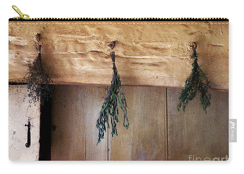 Herbs Carry-all Pouch featuring the painting Crossbeam With Herbs Drying by RC DeWinter