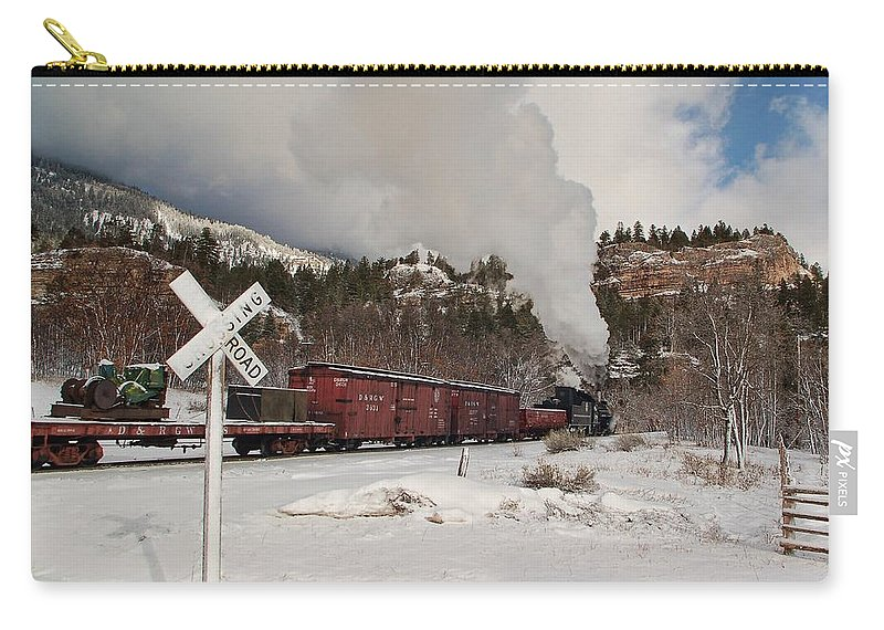 Steam Train Carry-all Pouch featuring the photograph Crossbucks And Steam by Ken Smith