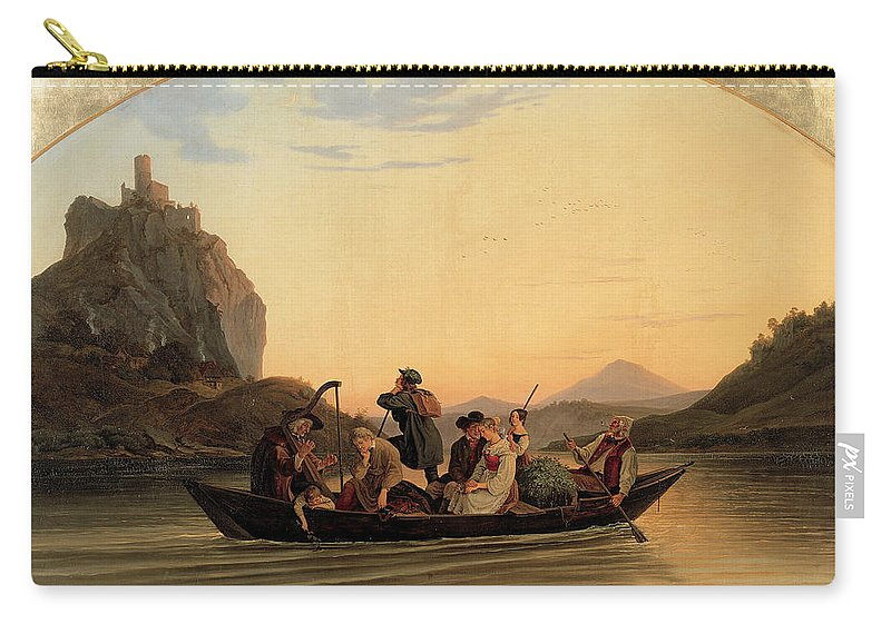 Adrian Ludwig Richter Carry-all Pouch featuring the painting Crossing At Schreckenstein by Adrian Ludwig Richter