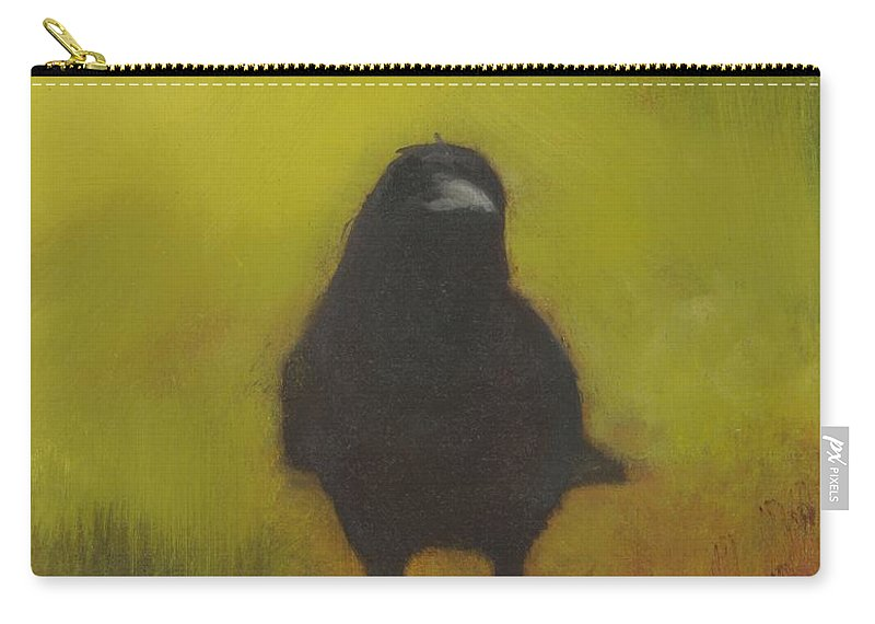 Crow Carry-all Pouch featuring the painting Crow 13 by David Ladmore