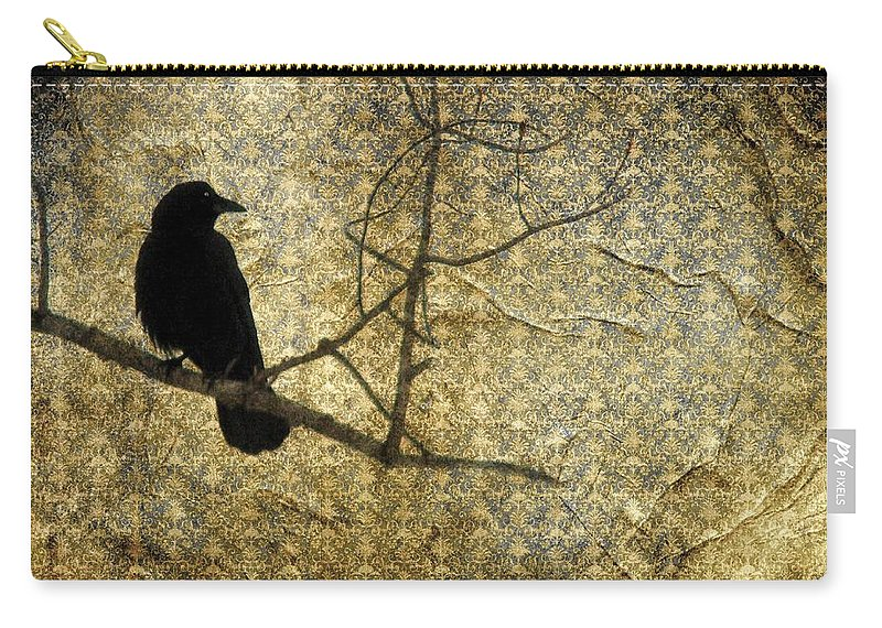 Damask Carry-all Pouch featuring the digital art Crow In Damask by Gothicrow Images