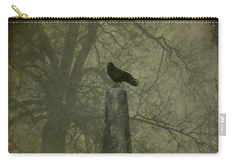 Spire Carry-all Pouch featuring the photograph Crow On Spire by Gothicrow Images