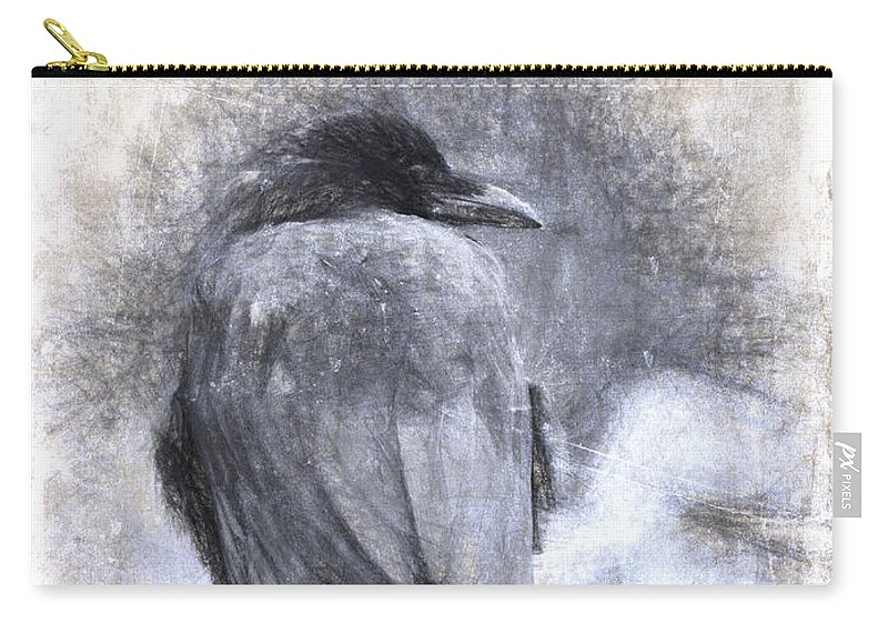 Crow Carry-all Pouch featuring the photograph Crow Sketch Painterly Effect by Carol Leigh