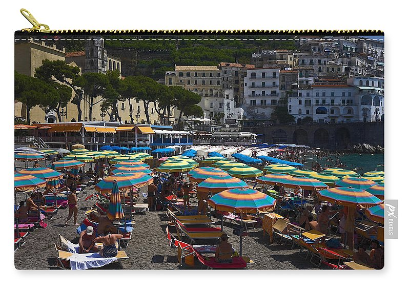Crowded Beach Carry-all Pouch featuring the photograph Crowded Beach by Sally Weigand