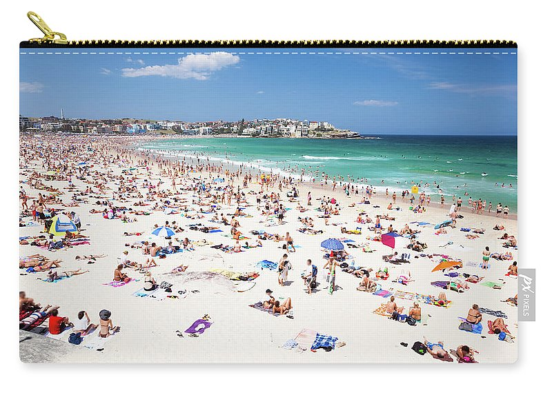 Water's Edge Carry-all Pouch featuring the photograph Crowded Bondi Beach, Sydney, Australia by Matteo Colombo