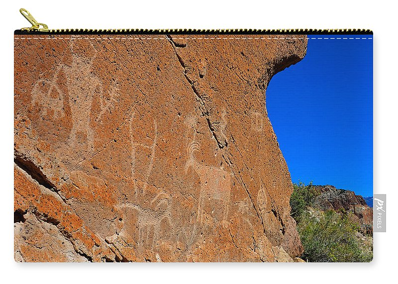 Capital Reef National Park Utah Carry-all Pouch featuring the photograph Capital Reef Rock Art Panel A by David Lee Thompson