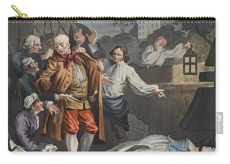 Lantern Carry-all Pouch featuring the drawing Cruelty In Perfection, From The Four by William Hogarth