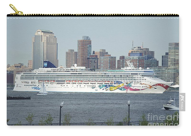 Cruise Carry-all Pouch featuring the photograph Cruise Ship On The Hudson by Evelyn Hill