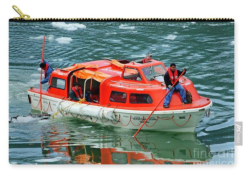 Cruise Tender Carry-all Pouch featuring the photograph Cruise Ship Tender Boat by Tap On Photo