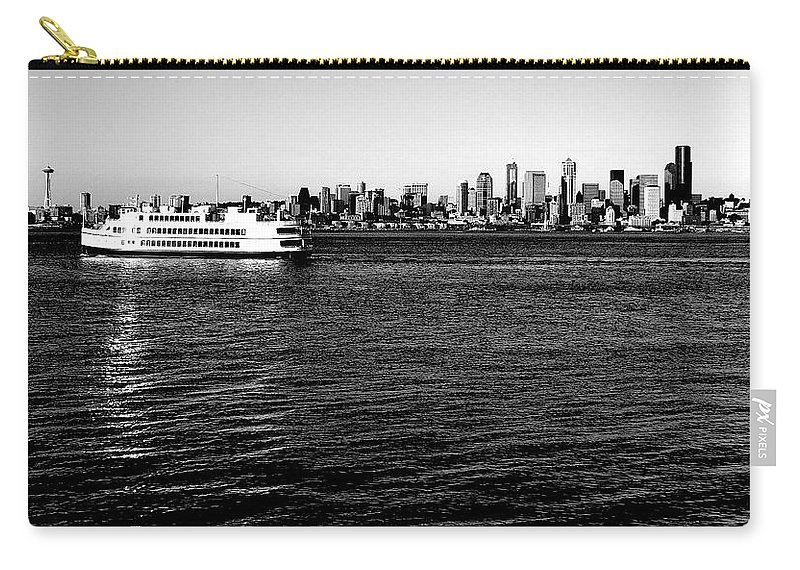 Seattle Carry-all Pouch featuring the photograph Cruising Elliott Bay Black And White by Benjamin Yeager