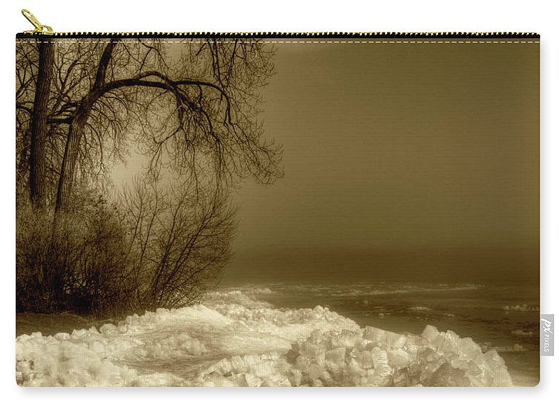 Lake Winnebago Carry-all Pouch featuring the photograph Crushed Ice Sepia by Thomas Young