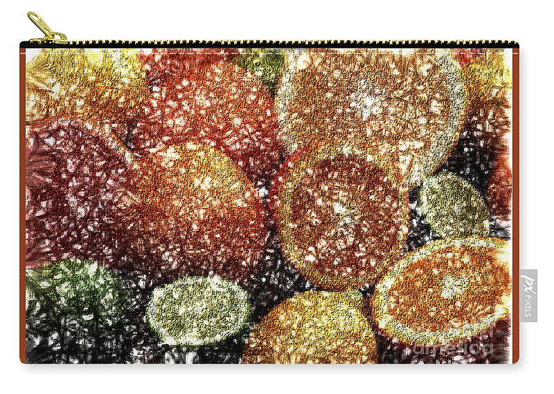 Grapefruit Abstract Carry-all Pouch featuring the digital art Crystal Grapefruit by Yael VanGruber