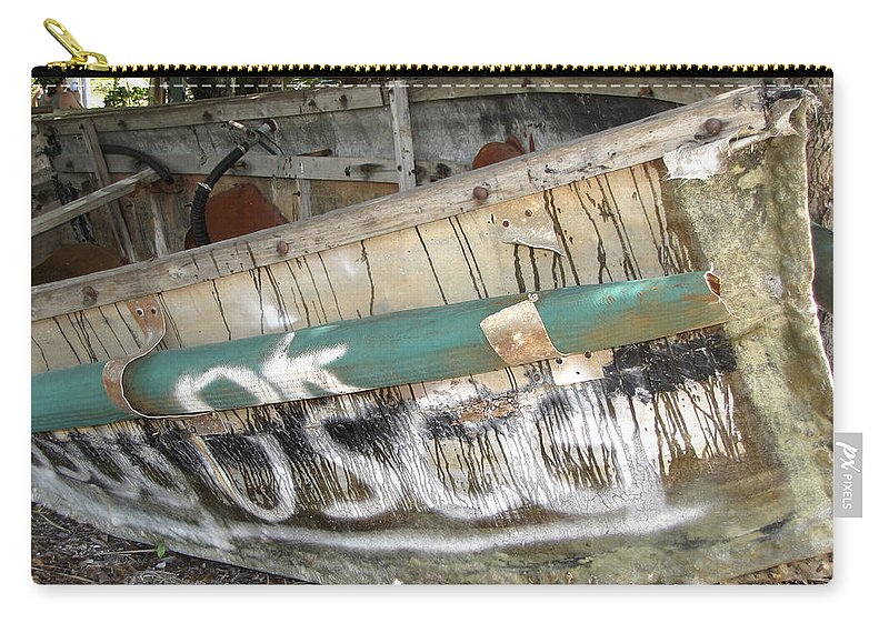 Refugee Carry-all Pouch featuring the photograph Cuban Refugees Boat 2 by Bob Slitzan