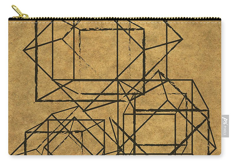 Geometric Carry-all Pouch featuring the digital art Cubed I by South Social Studio