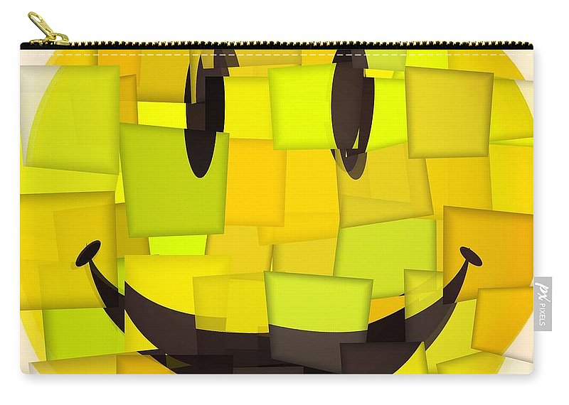 Cubism Smiley Face Carry-all Pouch featuring the mixed media Cubism Smiley Face by Dan Sproul