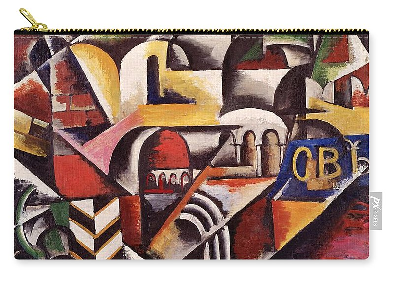 City Carry-all Pouch featuring the painting Cubist Cityscape, 1914 by Lyubov Sergeevna Popova
