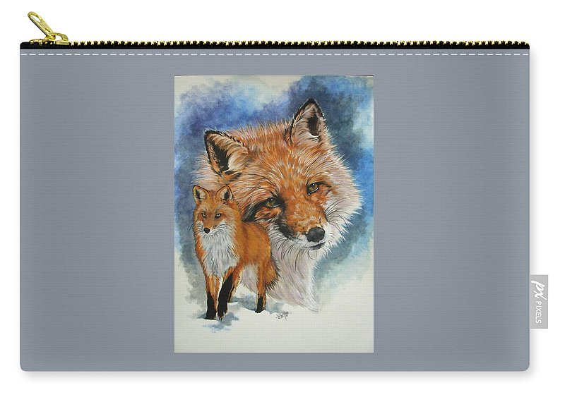 Fox Carry-all Pouch featuring the mixed media Cunning by Barbara Keith