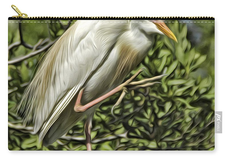 Cattle Egret Carry-all Pouch featuring the photograph Cunning by James Ekstrom