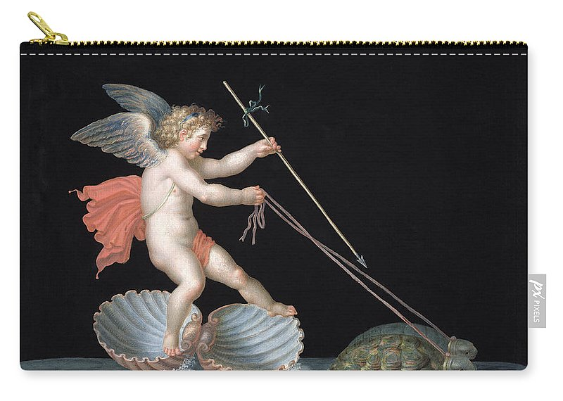 Eros Carry-all Pouch featuring the painting Cupid Being Led By Tortoises by Michelangelo Maestri