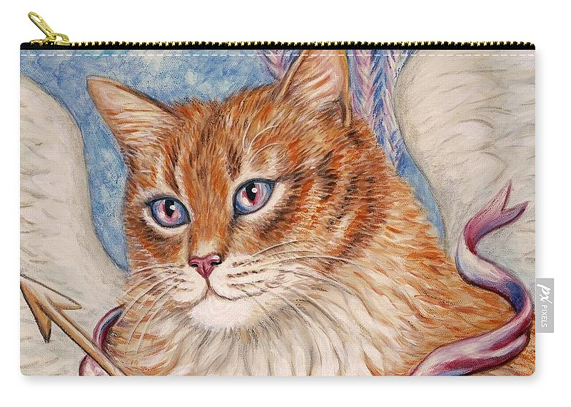 Cat Carry-all Pouch featuring the painting Cupid Kitty by Linda Mears
