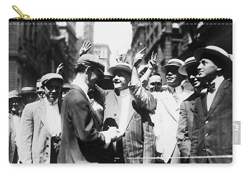 1916 Carry-all Pouch featuring the photograph Curb Stock Brokers, C1916 by Granger