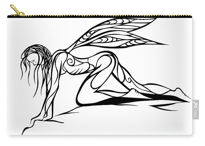 Jamie Lynn Gabrich Carry-all Pouch featuring the digital art Curious Fairy 1 by Jamie Lynn