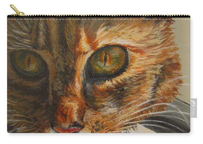 Cat Carry-all Pouch featuring the painting Curious by Karen Ilari
