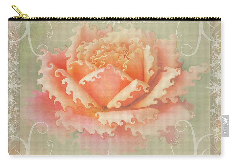 Nature Carry-all Pouch featuring the photograph Curlyicue Peach Rose With Flourshis  Square by Debbie Portwood