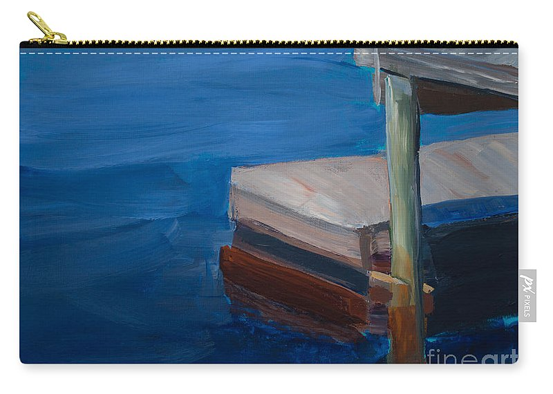 Original Artwork Carry-all Pouch featuring the painting Currituck Dock by Paulette B Wright