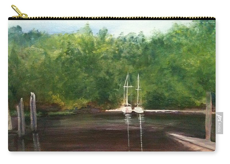 Plein Aire Carry-all Pouch featuring the painting Curtain's Marina by Sheila Mashaw