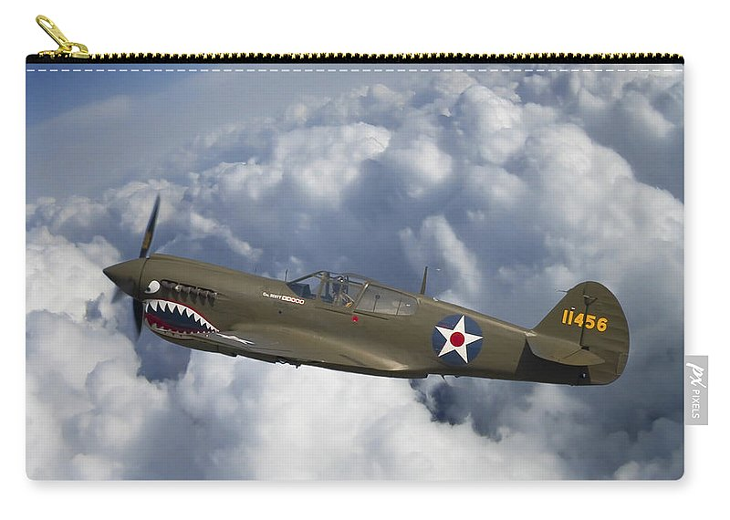 3scape Photos Carry-all Pouch featuring the photograph Curtiss P-40 Warhawk Flying Tigers by Adam Romanowicz