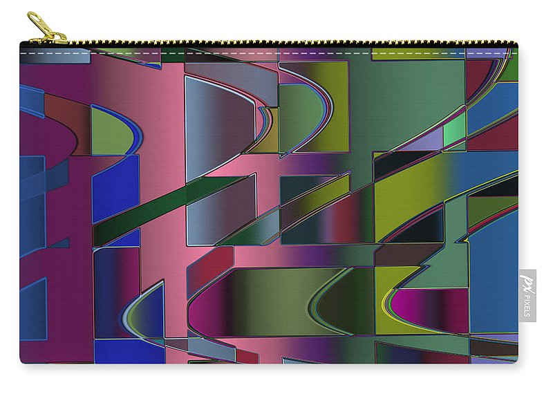 Geometric Carry-all Pouch featuring the digital art Curves And Trapezoids 3 by Judi Suni Hall