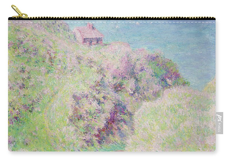 Seascape; Landscape; Coastal; Summer; Sea; Normandy; Seine-maritime; Cliffs; Impressionist Carry-all Pouch featuring the painting Customs House At Varengeville by Claude Monet